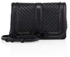 Rebecca Minkoff Women's Small Love Chevron Quilted Leather Crossbody Bag - Black
