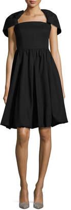 Co Draped-Shoulder Bubble Dress, Black