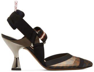 Fendi Black Forever Colibri 85 Slingback Heels
