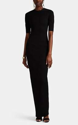 Rick Owens Women's Textured-Crepe Fitted Long Dress - Black