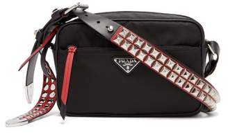 Prada New Vela Studded Nylon Shoulder Bag - Womens - Black Red