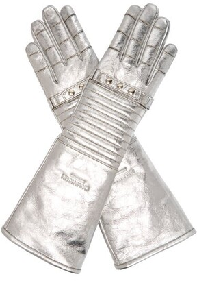 Calvin Klein Padded Leather Gloves - Womens - Silver