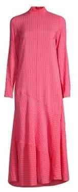 Ganni Women's Lynch Seersucker Midi Dress - Hot Pink - Size 34 (0)