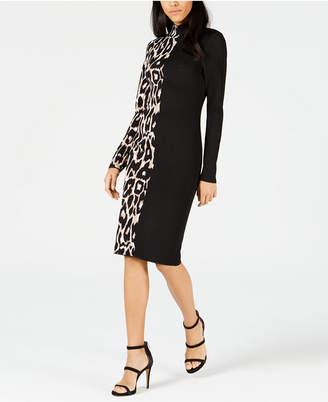 Bar III Colorblocked Leopard Sweater Dress