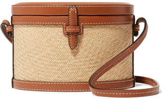 BEIGE Hunting Season - Trunk Mini Leather And Raffia Shoulder Bag