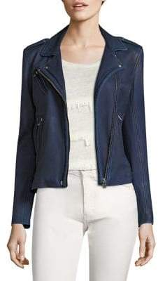 IRO Women's Han Leather Moto Jacket - Navy - Size 38 (6)