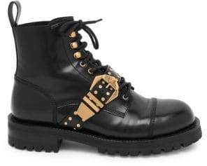 Versace Men's Studded Belt Leather Brogued Boots - Black Gold - Size 42 (9)