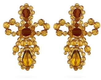 Simone Rocha Bow Crystal Beaded Drop Earrings - Womens - Orange