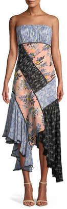 Cinq à Sept Sabrina Strapless Floral Patchwork Dress