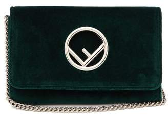 Fendi Kan I Logo Velvet Cross Body Bag - Womens - Dark Green