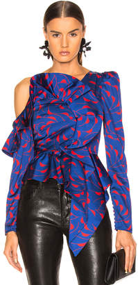 Self-Portrait Self Portrait Printed Frill Top in Navy & Red | FWRD