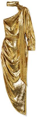 Ralph & Russo - One-shoulder Lamé Midi Dress - Gold