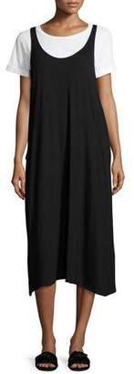 Eileen Fisher Lightweight Viscose Jersey Jumper Dress, Black, Plus Size