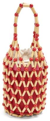 Wai Wai - Fefi Bamboo And Leather Bucket Bag - Womens - Red Multi