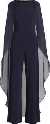Ralph Lauren Chiffon Cape-Overlay Jumpsuit