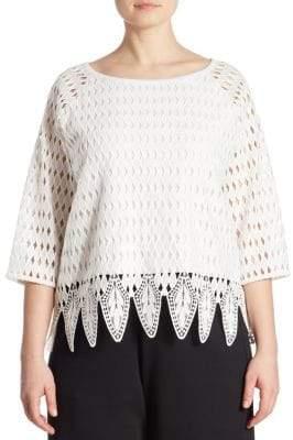 Joan Vass Women's Plus Crocheted Blouse - White - Size 2X (18W-20W)