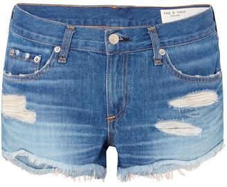 Rag & Bone Distressed Denim Shorts - Mid denim