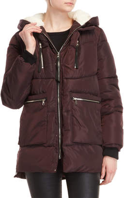 Steve Madden Sherpa-Lined Hooded Coat