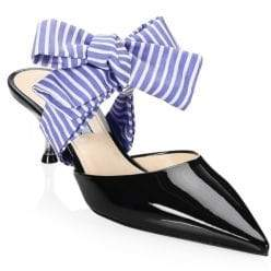 Prada Women's Patent Mules With Bow - Black - Size 38.5 (8.5)