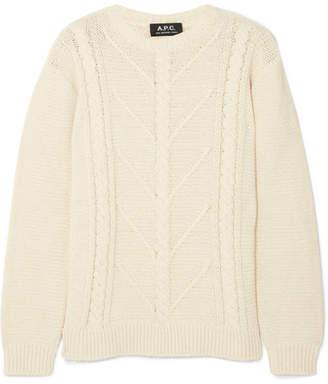 A.P.C. Morbihan Cable-knit Cotton-blend Sweater - Cream