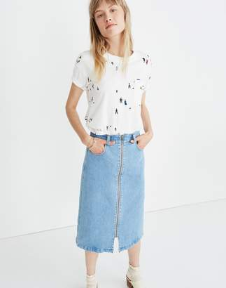 Madewell Denim Zip Midi Skirt in Janice Wash