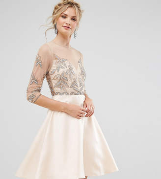 Maya Tall Allover Embellished Mini Prom Skater Dress