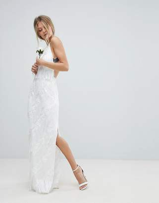 Asos Edition EDITION Wedding Tiered Multi Fringe Maxi Dress