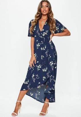 Missguided Blue Midi High Low Floral Dress