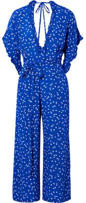 Faithfull The Brand La Villa Tie-detailed Ruffled Floral-print Crepe Jumpsuit - Cobalt blue