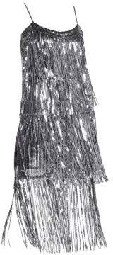 Dress the Population Women's Roxy Sequin Fringe Dress - Gunmetal - Size Medium