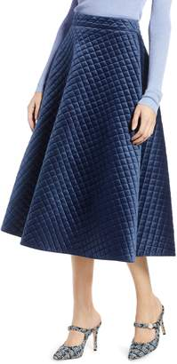 Halogen x Atlantic-Pacific Quilted Velour Circle Midi Skirt