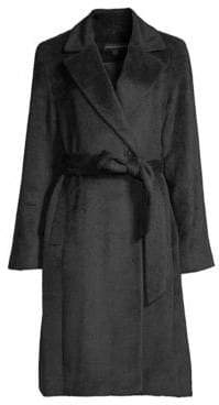 Sofia Cashmere Women's Belted Baby Suri Alpaca& Wool-Blend Wrap Coat - Black - Size 2