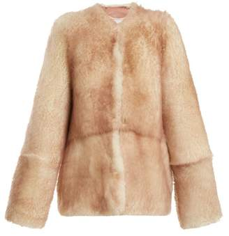 Raey 1970s Tipped Shearling Coat - Womens - Pink Multi