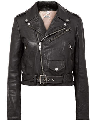 RE/DONE Moto Racer Distressed Leather Biker Jacket - Black