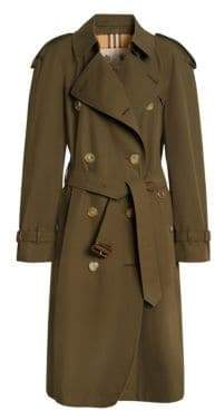 Burberry Women's Westminster Cotton Trench - Dark Military - Size 8
