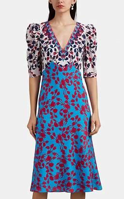 Saloni Women's Colette Japonica-Print Silk Satin Midi-Dress