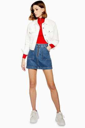 Topshop Utility Zip Up Denim Skirt