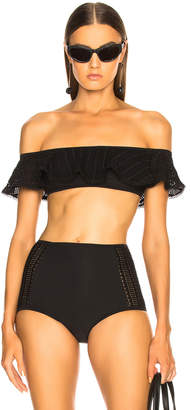 Jonathan Simkhai Off Shoulder Crochet Ruffle Bikini Top in Black | FWRD