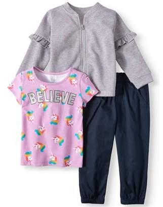 Wonder Nation Ruffle Detail Bomber Jacket, T-shirt, & Pants, 3-Piece Outfit Set (Toddler Girls)