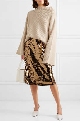 J.Crew Yams Grosgrain-trimmed Sequined Crepe Skirt - Gold
