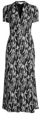 Equipment Women's Gaetan Floral Short Sleeve Dress - True Black Nature White - Size 0