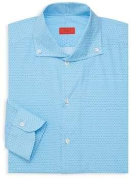 Isaia Printed Long-Sleeve Dress Shirt