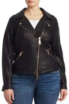Marina Rinaldi Ashley Graham x Ashley Graham x Women's Ebanista Leather Biker Jacket - Black - Size 10W