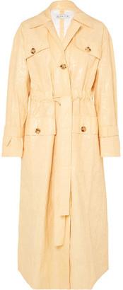 REJINA PYO - Ava Crinkled Vinyl Trench Coat - Pastel yellow