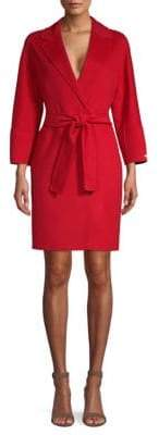 Max Mara Women's Arona Belted Wool Wrap Coat - Red - Size 14