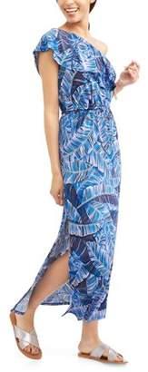 Allison Brittney Women's Ruffle One Shoulder Maxi Dress