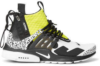 Nike Acronym Air Presto Mid Leather And Rubber-Trimmed Mesh Sneakers
