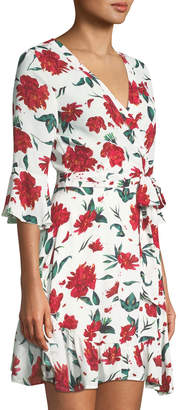 Free Generation Floral-Print Bell-Sleeve Wrap Dress