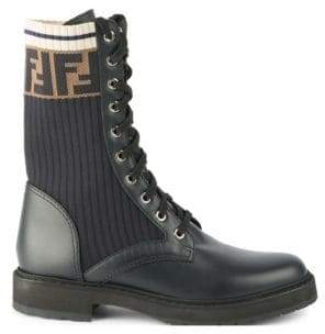 Fendi Women's Rockoko Leather& Knit Combat Boots - Size 40 (10)