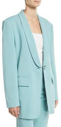 Tibi Boxy Oversized Stretch Suiting Tuxedo Blazer